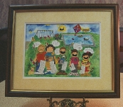Finished and framed original personalized picture cartoon